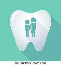 long shadow tooth icon with a childhood pictogram -...