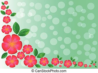 red flowers and leaves on green background