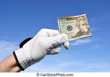 Golfer Holding a Twenty Dollar Bill - Golfer Wearing Golf...