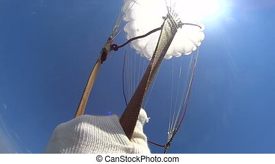 First parachute jump - HD skydiving in blue sky with clouds...