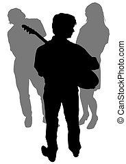 Music people on street