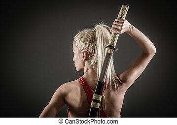 parte traseira, vista, de, mulher, com, espada,