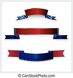 Banners with American flag colors. - Banners with American...