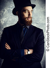 man in top hat - Gentleman with beard and mustache wearing...