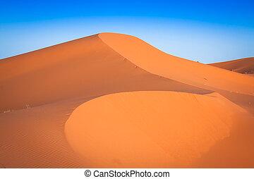Desert dune at Erg Chebbi near Merzouga in Morocco - Sand...