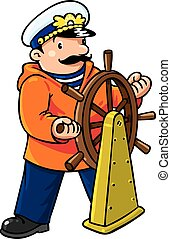 Funny captain or yachtman - Children vector illustration of...