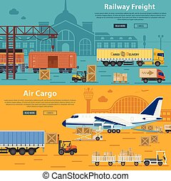 Railway Freight and Air Cargo Banners in Flat style icons...