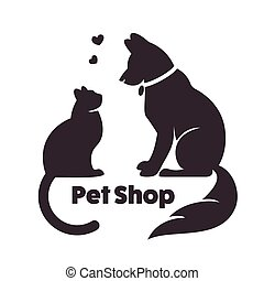Cat and dog vector signs and logo. Vector logo for...