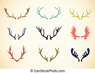 Reindeer Antlers Illustration in Vector Deer horns label set...