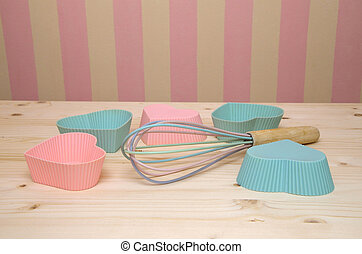 Muffin Liners and Egg Whisk - Pink and blue muffin liners...