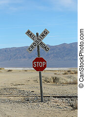 Railroad Crossing Stop Sign