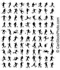 football players - Black silhouettes of football players,...