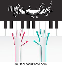 Hands on Piano Keyboard with Notes and Staff  Illustration