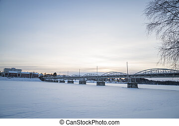 Bridge in Umeå, Sweden in Winter