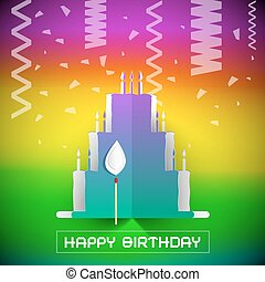 Birthday Cake with Confetti Vector Illustration on Colorful Gradient Background