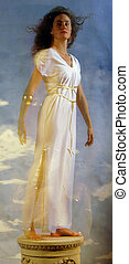 Grecian Pose - Woman on pedestal in a white Grecian toga