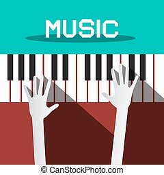 Music - Hands Playing Piano Keyboards