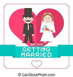 We Are Getting Married Vector Flat Design Card on White...