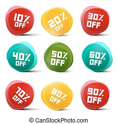 Circle Vector Discount Tags Set Isolated on White Background