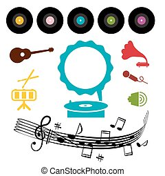 LP - Vinyl Record with Gramophone and Musical Symbols -...