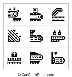 Set icons of conveyor isolated on white Vector illustration