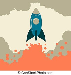 Retro rocket vector start up business. Retro space. Retro...