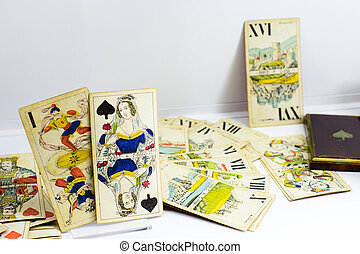 Old tarot card set from Hungary - Displayed vintage tarot...