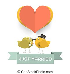 Just Married Card with Paper Cut Heard and Love Birds