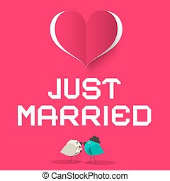 Just Married Pink Retro Vector Card with Love Birds and Heart Symbol
