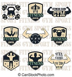 Fitness gym icons - Vintage Weight Lifting Labels and...