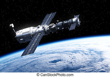 Space Station Over Earth. Realistic 3D Scene.