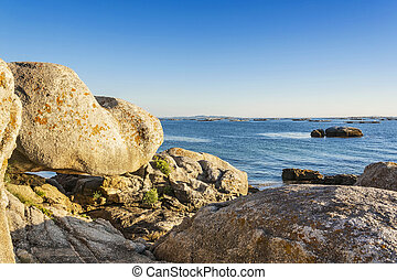 Rounded rocks - Rocks aand sea on the coast of Arousa Island