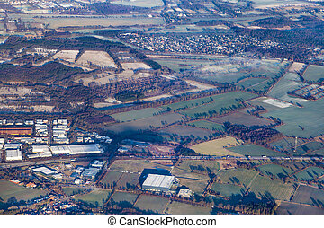 aerial of rural area near Hamburg in early morning