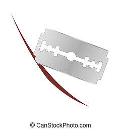 Metalic Razor Blade Isolated on White Background
