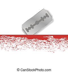 Metal Razor Blade - Realistic Razor Blade Icon on White...