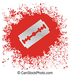 Razor Blade Icon - Blade Icon Isolated on Red Drops...