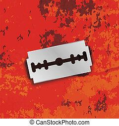 Razor Blade Icon on Grunge Red Background