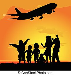 children silhouette with airplane illustration