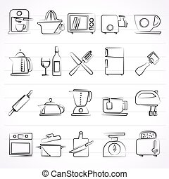 Kitchenware equipment icons - Kitchenware objects and...
