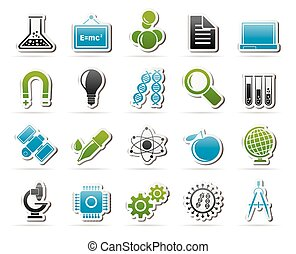 Science and Education Icons - Science, Research and...