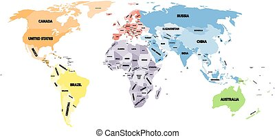 Political world map on white background. - Colored political...