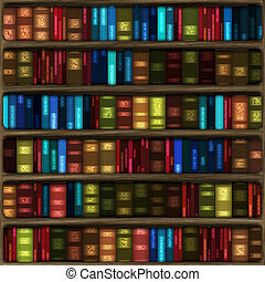 bookshelf books - computer generated cartoon of six fully...