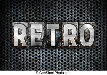 retro, concept, métal, Letterpress, type,