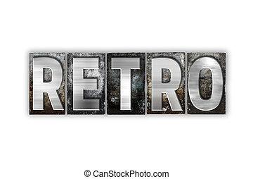 retro, concept, isolé, métal, Letterpress,...