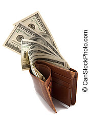 Wallet full of money, with bank notes sticking out