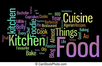 food words black - large group of scattered multi-color...