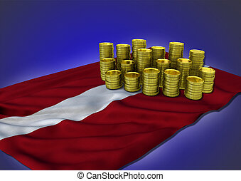 Latvian economy concept with national flag and golden coins