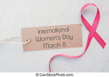 International Womens Day Pink Ribbon Symbol