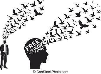 Businessman with flying birds - Businessman silhouette with...