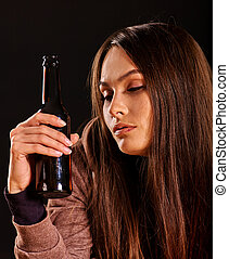 Drunk girl holding bottle of vodka - Portrait of drunking...
